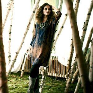 Anthro H Fredriksson Silk Wood Grain Tunic Dress